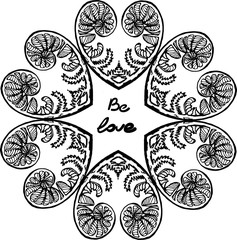 Illustration of a kaleidoscope of fern leaf. Everything is love.