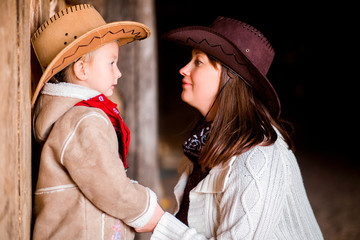 Mom and daughter in cowboy style
