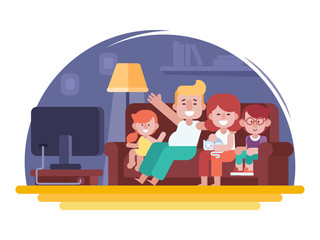 Happy family watching tv flat vector illustration