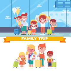 Happy Family travel together. Parents with children at the airport. Flat Vector illustration.  Character design.