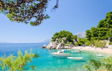 paradise beach in Brela on Makarska riviera, Dalmatia, Croatia