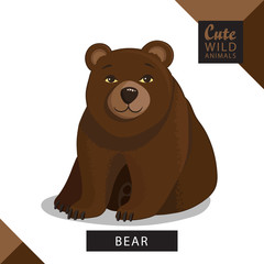 A cute bear. Vector illustration from wild animals series. A picture for children's educational books, for a print on a T-shirt or your design.