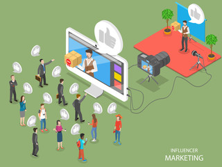 Influencer marketing flat isometric vector concept. Video blogger is representing a new product for its audience throw video post on its page.