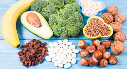 Natural products rich in vitamin B6 (Pyridoxine) . Healthy food concept.