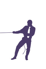 Silhouette Business Man Pulling Rope Strong Businessman Competition Concept Vector Illustration