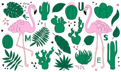Set of cute summer icons: green tropical leaves, cactus and flamingo. Bright summertime poster. Collection of scrapbooking elements.