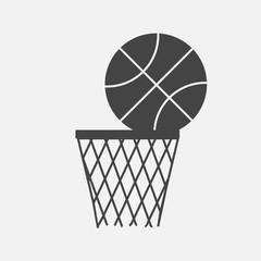 Vector icon game of basketball. The ball flies into the basket