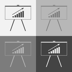 Business billboard vector set icon with graphic. Business blackboard.