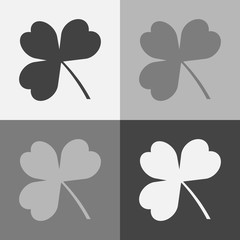 Vector icon set three-leafed clover. Vector illustration on a gray background
