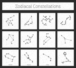 Set zodiacal constellations in square, white background, realistic. Collection of horoscope symbols. Vector illustration of ancient magic images