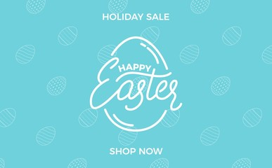 Easter. Easter sale banner background with lettering label and holiday eggs pattern