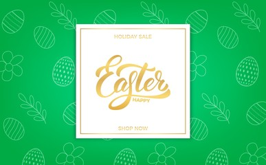 Easter. Easter sale banner background with Easter lettering and holiday spring pattern