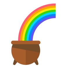 Lucky Irish Pot of Gold with Rainbow in Sky