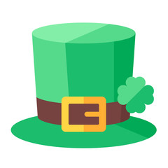 St. Patrick's Day hat with clover. Vector illustration.
