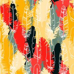 Birds feathers rainbow seamless pattern