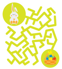 Easter maze game with Easter bunny and basket with easter-eggs / white background