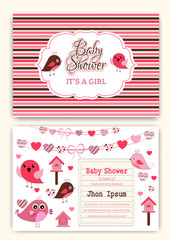 Baby shower party invitation card template. vector illustrator.