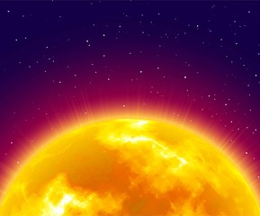 Flaming sunrise, close-up, night background, cartoon style. Huge shining star on half sky. Vector illustration of heavenly luminary