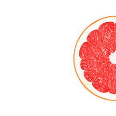 Grapefruit in flat lay Half of ripe grapefruit is lying on white background Close up minimalistic photo mockup in top view with space for text