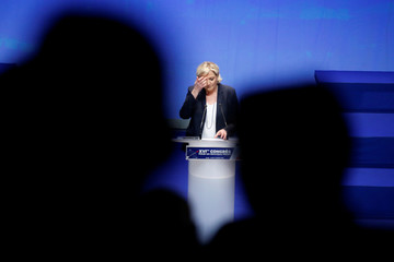 Marine Le Pen, French National Front (FN) political party leader, announces the new staff, during National Front's congress in Lille
