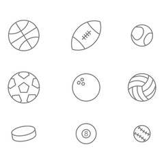 monochrome set with  balls line icons for your design