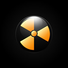 Nuclear radiation abstract symbol on a black background. Vector sign.