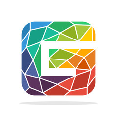 logo icon initial letter G with the concept of colorful mosaic style