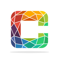 logo icon initial letter C with the concept of colorful mosaic style