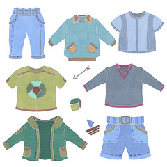 Watercolor children, little boy clothing, toys