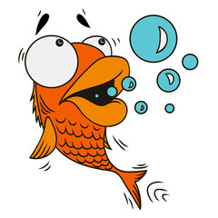 Cartoon surprised fish on white background. Isolated vector illustration.