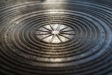 Surface of ancient magnificent bronze drum, Frog drum or Rain drum in Thailand. Circular line texture background