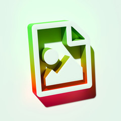 White File Image Icon. 3D Illustration of White Document, Extension, File, Format, Paper Icons With Orange and Green Gradient Shadows.