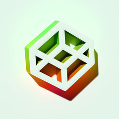 White Codepen Icon. 3D Illustration of White Programm, Web, Internet Icons With Orange and Green Gradient Shadows.