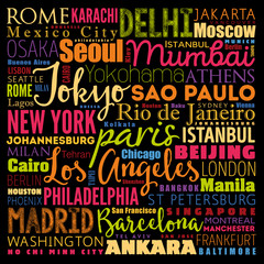 The largest cities in the world word cloud collage, travel destinations concept background