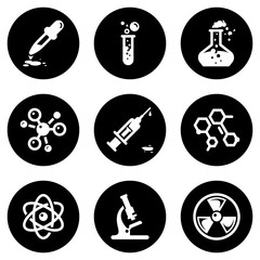 Set of white icons isolated against a black background, on a theme Chemistry