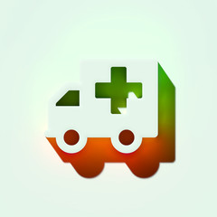 White Ambulance Icon. 3D Illustration of White Ambulance, Car, Emergency, Hospital, Transportation Icons With Orange and Green Gradient Shadows.