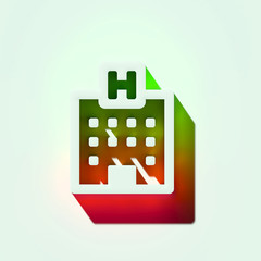 White Hospital Icon. 3D Illustration of White Hospital, Buildings, Health Care, Medical Assistance Icons With Orange and Green Gradient Shadows.