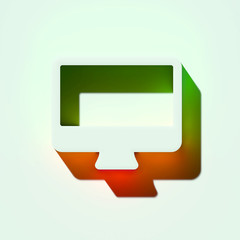 White Desktop Icon. 3D Illustration of White Computer, Desktop, Display, Monitor, Screen, Wallpaper Icons With Orange and Green Gradient Shadows.