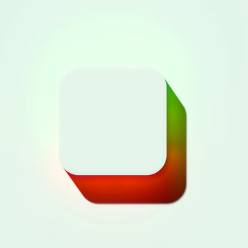 White Square Icon. 3D Illustration of White Selection, Shape, Square Icons With Orange and Green Gradient Shadows.