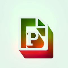 White File Powerpoint Icon. 3D Illustration of White Document, File Format, Powerpoint, Ppt Icons With Orange and Green Gradient Shadows.