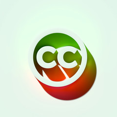 White Creative Commons Icon. 3D Illustration of White Creative Commons, Logo, License, Square Icons With Orange and Green Gradient Shadows.