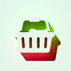 White Shopping Basket Icon. 3D Illustration of White Basket, Buy, Buying, Groceries, Shopping Icons With Orange and Green Gradient Shadows.