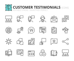 Outline icons about customer testimonials