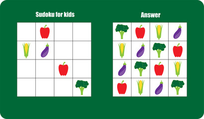 Sudoku game with vegetables (tomato, broccoli, corn, eggplant) for children, easy level, education game for kids, preschool worksheet activity, task for the development of logical thinking, vector