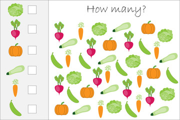 How many counting game with vegetables for kids, educational maths task for the development of logical thinking, preschool worksheet activity, count  and write the result, vector illustration