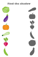 Find the shadow game with pictures (vegetables) for children, education game for kids, preschool worksheet activity, task for the development of logical thinking, vector illustration