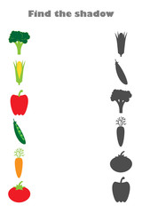 Find the shadow game with pictures of vegetables for children, education game for kids, preschool worksheet activity, task for the development of logical thinking, vector illustration