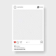 Social network post. Frame for your photo. Gray background. Vector illustration.