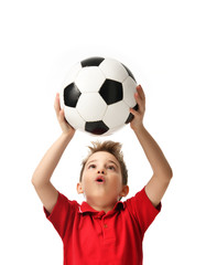 Fan sport boy player hold soccer ball in red t-shirt celebrating happy surprised free text copy space isolated