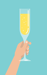 Men's hand holds a glass with a champagne. Isolated vector illustration flat design.